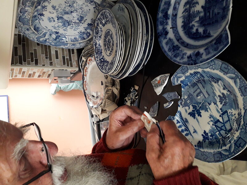 An Encounter with Blue and White Ceramics block mentored by Sue Jones