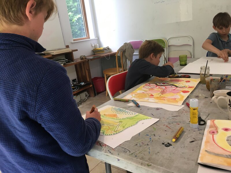 Superheros drawing workshop at Forest Row Festival block mentored by Catherine Greenwood
