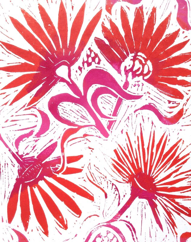 Print workshop inspired by Japan  block mentored by Catherine Greenwood