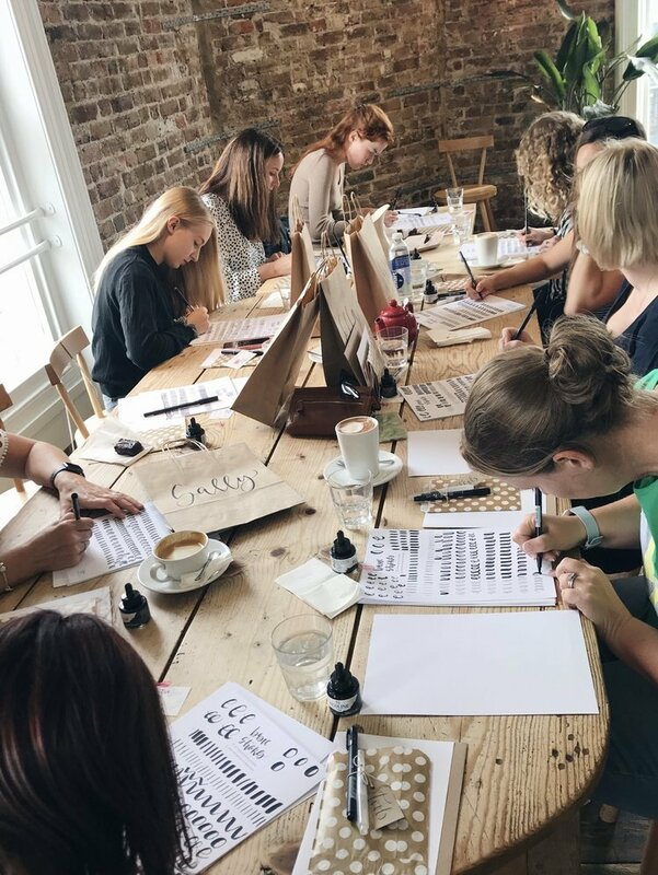 Brush Lettering Workshop in Eastbourne block mentored by Alina Snepste