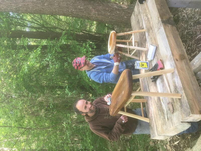 Stool making in the woods  course mentored by Danny Harling