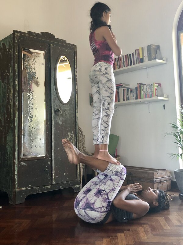 Parent and Child AcroYoga Workshop block mentored by Sarah Campbell-Lloyd
