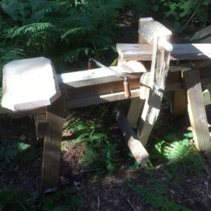 Shave horse making course in Sussex Woodland block mentored by Danny Harling