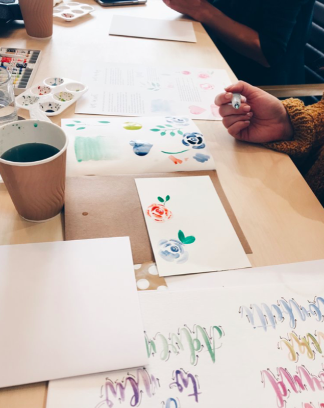 Mother's Day Watercolour Brush Lettering Workshop block mentored by Alina Snepste
