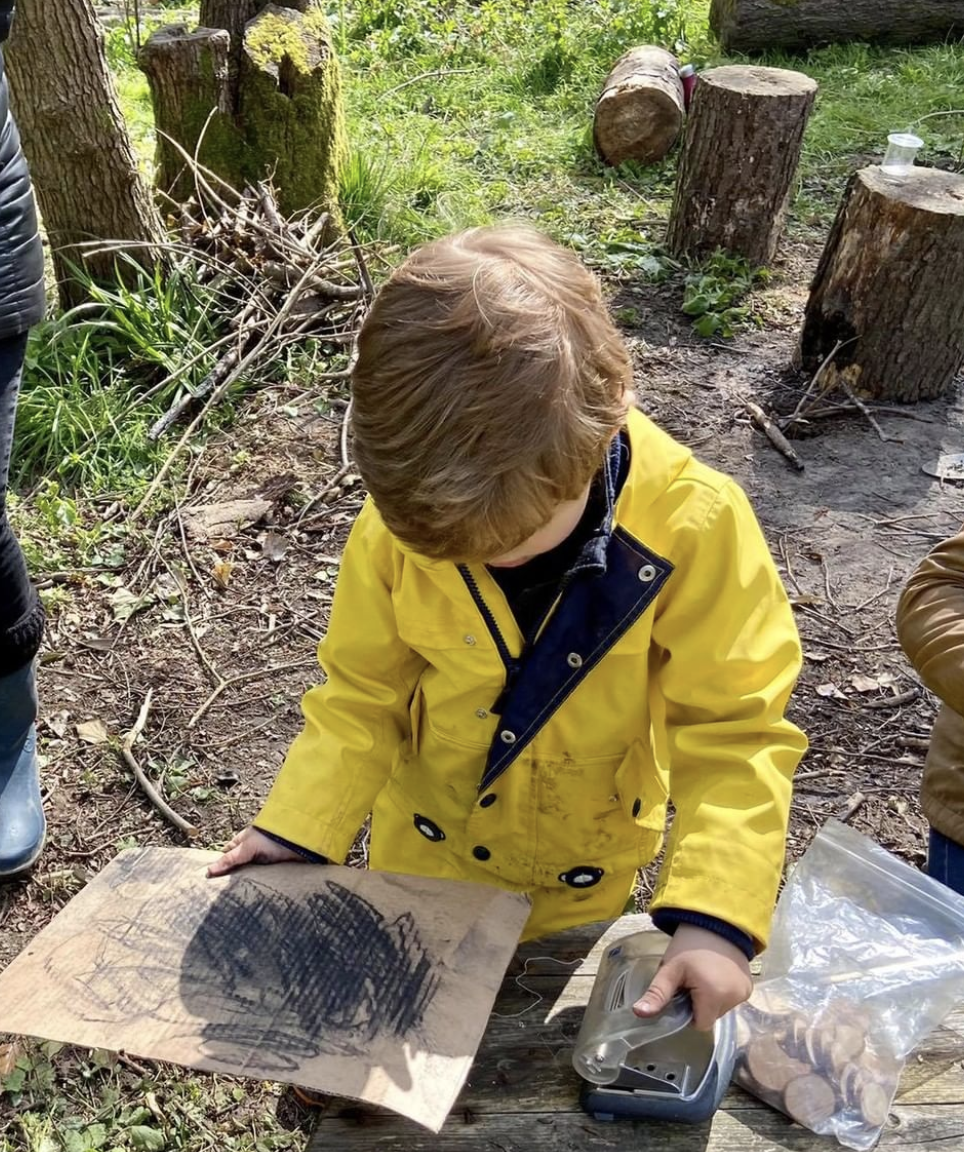 Parent and Child Forest School session mentored by Dee Heyward-Ponte