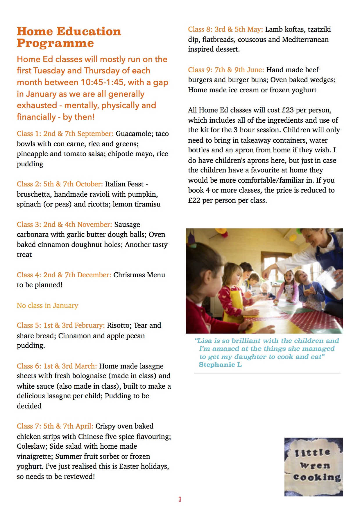 Children's Home Ed Cooking Class ages 7+ workshop mentored by Lisa James