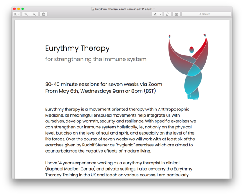 Eurythmy for strengthening the Immune System (ZOOM) block mentored by Katherine Beaven